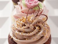 Chocolate Muffins with Chocolate and Coffee Buttercream & Vanilla Muffins with Rose Buttercream recipe