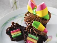 Chocolate Muffins with Multi-coloured Centres recipe