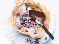 Chocolate-Nut Cake with Fresh Berries recipe