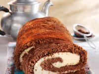 Chocolate Sponge Cake Roll with Mascarpone Cream Filling recipe