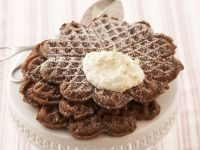 Chocolate Waffles with Peach Topping recipe