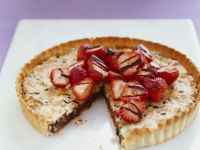 Chocolate Walnut Tart with Strawberries recipe