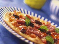 Chorizo, Olive and Basil Pizza recipe