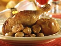 Christmas Goose with Glazed Chestnuts and Baked Apples