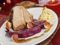 Christmas Goose with Red Cabbage and Duchess Potatoes recipe