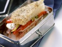 Ciabatta Sandwiches with Peppers, Ham and Cheese recipe