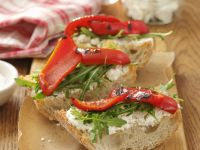 Ciabatta with Goat Cheese, Arugula and Grilled Peppers recipe