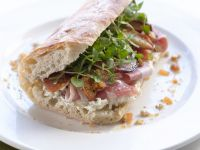 Ciabatta with Goat Cheese, Pear and Ham recipe