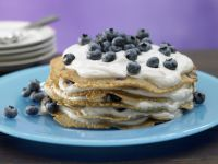 Cinnamon Apple Pancakes with Blueberries and Quark Cream recipe