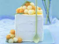 Citrus Ice Cream with Melon Balls recipe
