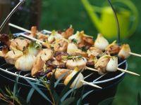 Citrus Marinated Pork, Chicken and Mushroom Skewers recipe