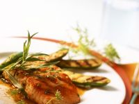 Citrus Marinated Salmon with Grilled Zucchini recipe