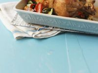 Classic Roast Chicken with Zucchini and Peppers recipe