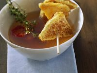 Clear Vegetable Broth with Parmesan Toasts recipe
