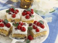 Coconut Cherry Cake with Vanilla Cream recipe