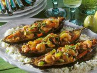 Coconut Curry Shrimp and Vegetable Stuffed Eggplant recipe