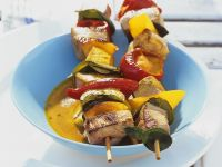 Coconut-Lime Grilled Pork and Vegetable Skewers recipe