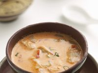 Coconut Milk Soup with Red Curry, Chicken and Oyster Mushrooms recipe