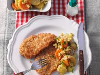 Coconut Veal Cutlets with Carrot-potato Salad recipe