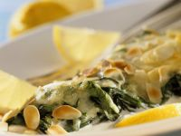 Cod and Spinach Gratin with Almonds recipe