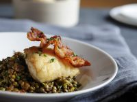 Cod  Fillet with Bacon and Lentil Salad recipe