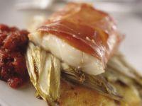 Cod Fillet with Prosciutto and Potato Pancakes recipe