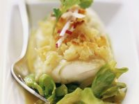 Cod Fillets with Bread Crust and Cabbage recipe