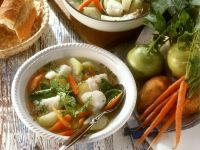 Cod Soup with Vegetables and Chervil recipe