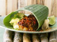 Cod with Chile Pepper Sauce and Potato Puree recipe