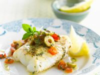 Cod with Olives and Tomato recipe