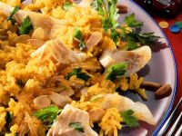 Cod with Rice, Almonds and Pine Nuts recipe