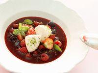 Cold Berry Soup with Quark Dumplings recipe