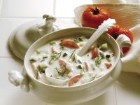 Cold Kefir Soup with Cucumber and Tomatoes recipe