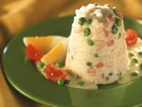 Cold Rice Pudding with Ham and Peas recipe