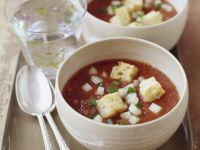 Cold Spanish Vegetable Soup with Croutons (Gazpacho) recipe