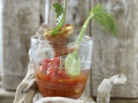 Cold Tomato Soup with Halibut Skewers recipe