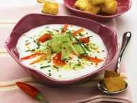 Cold Yogurt-Vegetable Soup with Buttery Croutons recipe