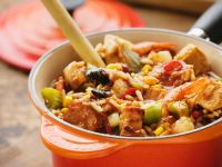 Colorful Mixed Meat Stew with Rice and Vegetables recipe