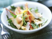 Colorful Pasta Salad with Arugula and Bacon recipe
