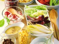 Colorful Salad  with Various Sauces recipe