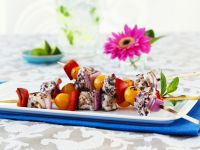 Colorful Vegetable and Halibut Skewers recipe