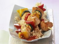 Colorful Vegetable Chicken Skewers with Tomato recipe