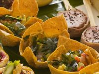Colorful Vegetable Salad in Tortilla Bowls recipe