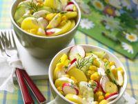 Colourful Potato Salad with Cucumber and Radish recipe
