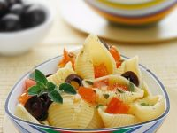 Conchiglie with Tomato and Olives recipe