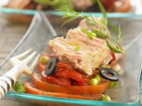Cooked Tuna with Med-style Garnish recipe
