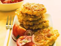 Corn Fritters with Tomato Salad recipe