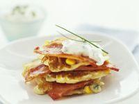 Corn Pancake Stack with Bacon recipe