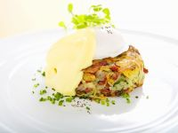 Corned Beef Potato Cake, Poached Egg and Hollandaise Sauce recipe