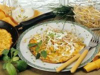 Cornmeal Omelets with Corn and Bean Sprouts recipe